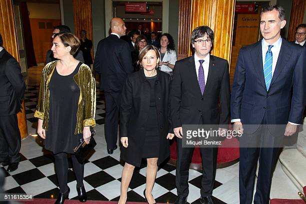 Mayor of Barcelona Ada Colau Catalonia's Parliament President Carme Forcadell Catalonian Regional Government President Carles Puigdemont and King...