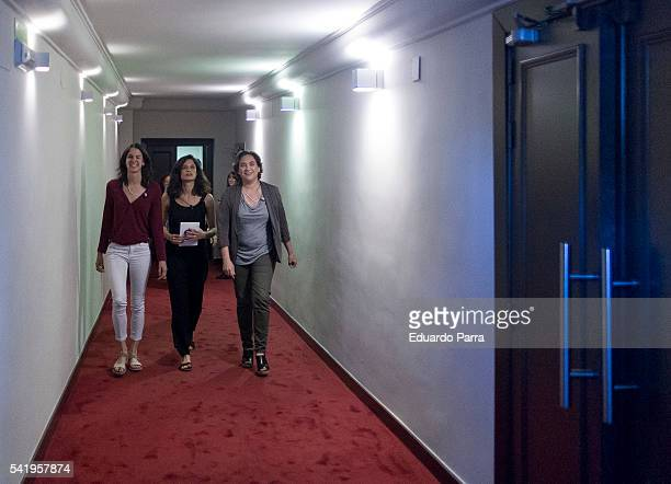 Mayor of Barcelona Ada Colau Clara Serra and councilor Rita Maestre attend the 'Mujeres cambiando el pais' event at La Latina theatre on June 21 2016...
