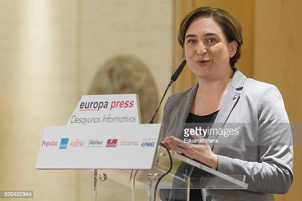 Mayor of Barcelona Ada Colau speaks at 'Los Desayunos de Europa Press Ada Colau conference' at Hesperia hotel on April 11 2016 in Madrid Spain Ada...