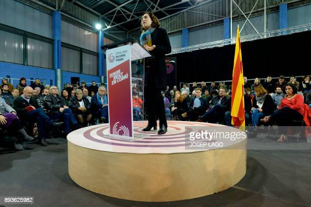 Mayor of Barcelona Ada Colau speaks during a campaign meeting of 'Catalunya en comu podem' electoral coalition for the upcoming Catalan regional...