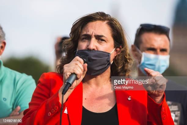 Mayor of Barcelona Ada Colau talks to the crowd of Nissan employees during a protest against the closure of the Japanese factories in Catalonia on...