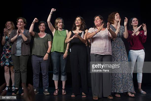 Mayor of Barcelona Ada Colau Tania Sanchez Clara Serra and councilor Rita Maestre attend the 'Mujeres cambiando el pais' event at La Latina theatre...