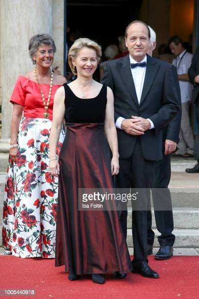 Mayor of Bayreuth Brigitte MerckErbe German Defence Minister Ursula von der Leyen and her husband Heiko von der Leyen during the opening ceremony of...