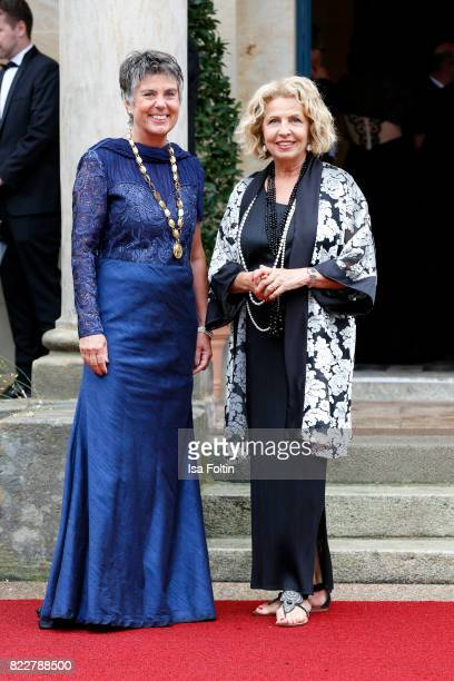 Mayor of Bayreuth Brigitte Merk-Erbe and German actress Michaela May attend the Bayreuth Festival 2017 Opening on July 25, 2017 in Bayreuth, Germany.