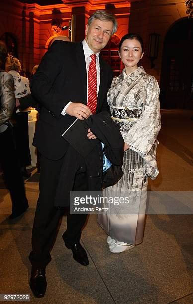 Mayor of Berlin Klaus Wowereit and Gensei Ito Salvador of ASCA Overseas cultural exchange attend the gala dinner BELSTAFF FOR PEACE to the 10th World...