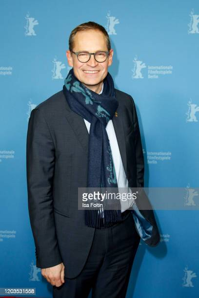 Mayor of Berlin Michael Müller poses at the Stateless premiere during the 70th Berlinale International Film Festival Berlin at Zoo Palast on February...