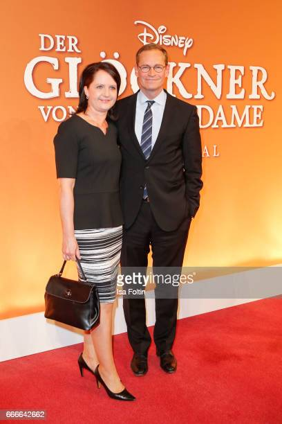 Mayor of Berlin Michael Mueller and his wife Claudia Mueller attend the premiere of the musical 'Der Gloeckner von Notre Dame' on April 9 2017 in...