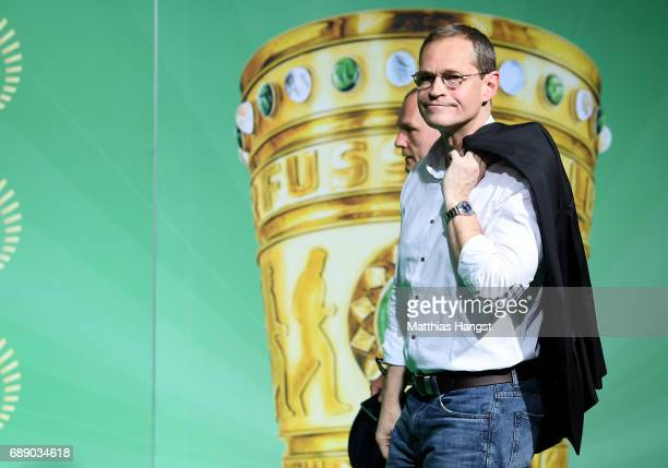 Mayor of Berlin Michael Mueller arrives for the DFB Cup Final 2017 between Eintracht Frankfurt and Borussia Dortmund at Olympiastadion on May 27 2017...