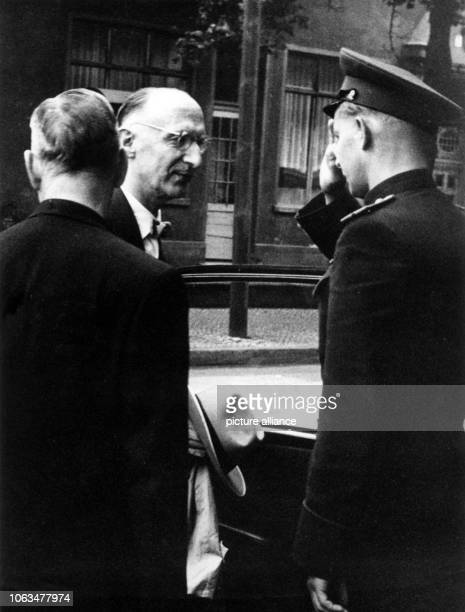 Mayor of Berlin Otto Suhr is welcomed by a Soviet officer during his arrival in Berlin-Karlshorst on the 4th of July in 1956. Suhr met the Soviet...