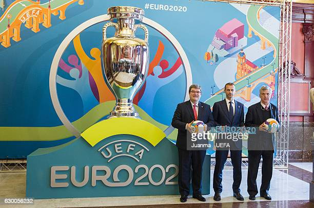 Mayor of Bilbao Jose Maria Aburto, UEFA president Aleksander Ceferin and president of RFEF Angel Maria Villar pose in front of the Bilbao logo for...