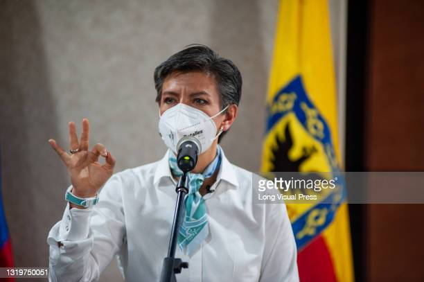 Mayor of Bogota, Claudia Lopez, along the subsecretary of health raise awareness through a new self care campaing amid the announcement of 7673...
