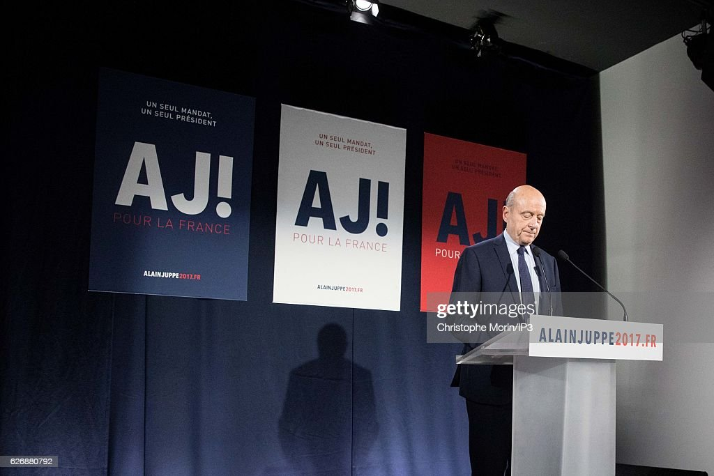 Mayor of Bordeaux Alain Juppe delivers a speech to the media and his supporters after his defeat against Former French Prime Minister Francois Fillon in the second round of votes for the Primary Election of the right wing Les Republicains at his campaign headquarters on November 27, 2016 in Paris, France. His opponent Francois Fillon won the second round of the primary with more than 66% of the votes and will stand as the candidate for Les Republicains in the French Presidential Election in April 2017.