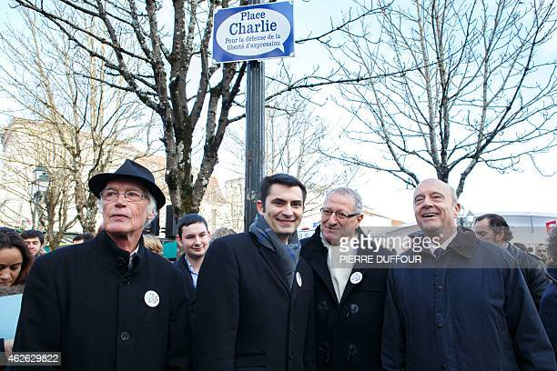 Mayor of Bordeaux Alain Juppe Mayor of Angouleme Xavier Bonnefont and President of the Association of the Comics Festival Patrick Ausou attend a...