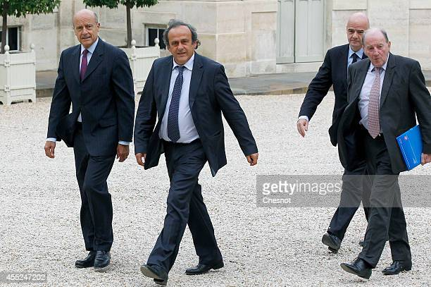 Mayor of Bordeaux Alain Juppe UEFA President Michel Platini UEFA General Secretary Gianni Infantino and UEFA EURO 2016 SAS chairman Jacques Lambert...