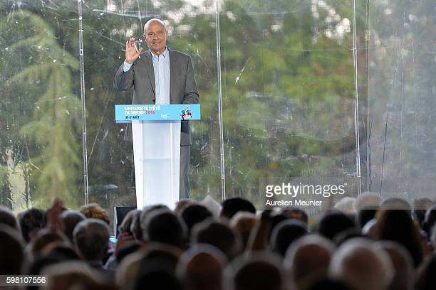 Mayor of Bordeaux and Presidential election candidate Alain Juppe addresses hundreds of political supporters during the Medef summer University...