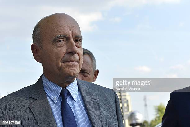 Mayor of Bordeaux and Presidential election candidate Alain Juppe arrives to the Medef summer University conference on August 31 2016 in JouyenJosas...