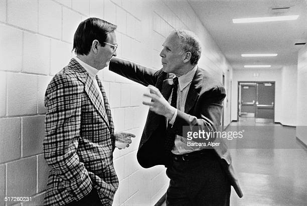 Mayor of Boston, Kevin White talks with a constituent in Charlestown, Boston, Massachusetts, 1976.