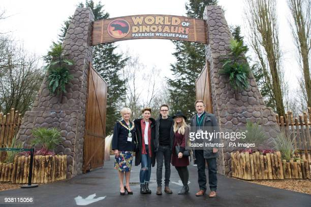 Mayor of Broxbourne cllr Carol Crump left Emma Willis Tom Fletcher Emma Bunton and Robert Voss CBE attending the opening of World of Dinosaurs a...