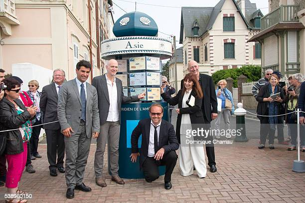 Mayor of Cabourg Tristan Duval Guillaume Laurent Xavier Beauvois Ariane Ascaride Sam Karmann and guest attend the Inauguration of Love Meridian...