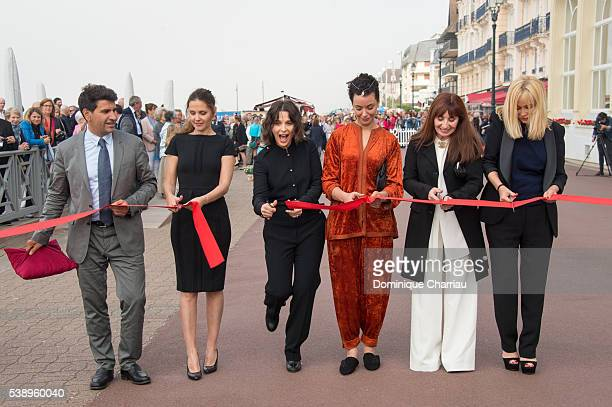 Mayor of Cabourg Tristan Duval Virginie Ledoyen Juliette Binoche Loubna Abidar Aiane Ascaride and Emmanuelle Beart attend the Inauguration of Love...