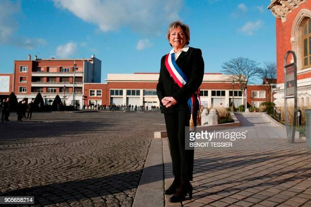 Mayor of Calais Natacha Bouchart waits for the arrival of French President in front of the Calais' townhall northern France on January 16 2018 French...