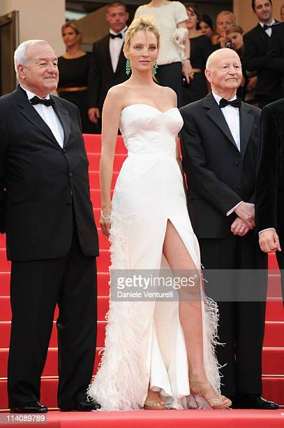 """Mayor of Cannes, Bernard Brochand, Jury member Uma Thurman and Cannes Film Festival President Gilles Jacob attend the Opening Ceremony and """"Midnight..."""