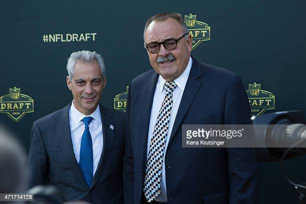Mayor of Chicago Rahm Emanuel and Dick Butkus arrive on the gold carpet for the first round of the 2015 NFL Draft at the Auditorium Theatre of...