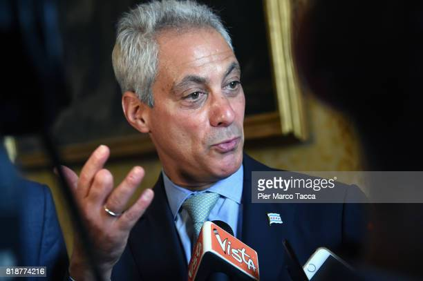 Mayor of Chicago Rahm Emanuel attends a press conference at Palazzo Marino during his visit on July 19 2017 in Milan Italy Mayor Emanuel is in Milan...