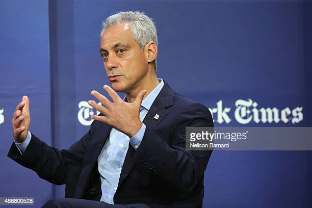 Mayor of Chicago Rahm Emanuel speaks onstage during the New York Times Schools for Tomorrow conference at New York Times Building on September 17...