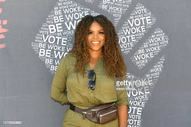 Mayor of Compton Aja Brown attends BE WOKE. VOTE GEN-Z Vote Drive-Up Voter Registration Event on September 19, 2020 in Compton, California.