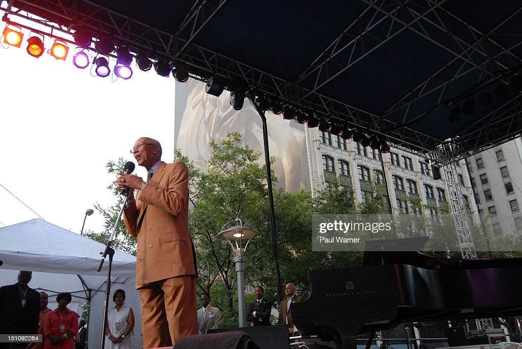 Mayor of Detroit Dave Bing addresses the crowd during the 33rd Annual Detroit Jazz Festival on August 31, 2012 in Detroit, Michigan.