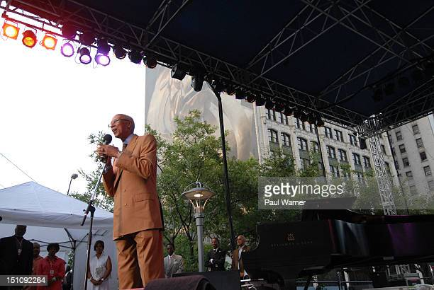 Mayor of Detroit Dave Bing addresses the crowd during the 33rd Annual Detroit Jazz Festival on August 31 2012 in Detroit Michigan