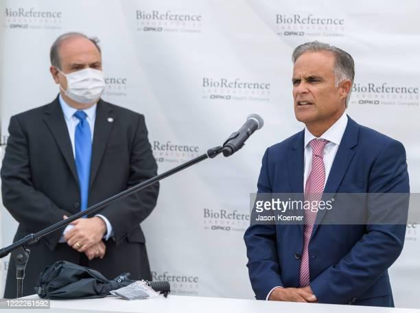 Mayor of Doral Juan Carlos Bermudez and Carlos Acosta speak during BioReference Laboratories hosts Grand Opening of COVID19 Antibody Testing...