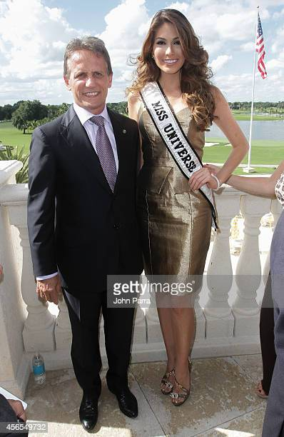 Mayor Of Doral Luigi Borgia and Miss Universe Gabriela Isler attend Press Conference to announce the 63rd annual Miss Universe Pageant at Trump...