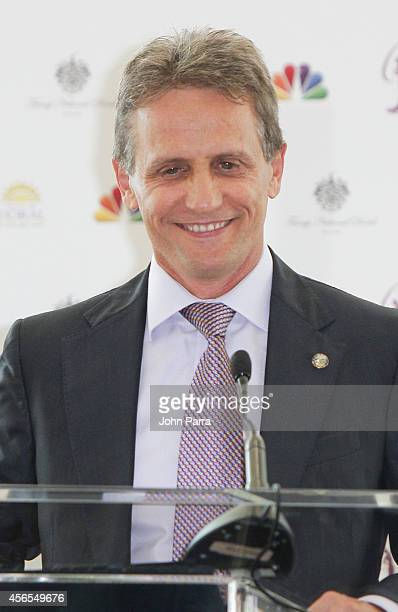 Mayor Of Doral Luigi Borgia speaks during Press Conference to announce the 63rd annual Miss Universe Pageant at Trump National Doral on October 2,...