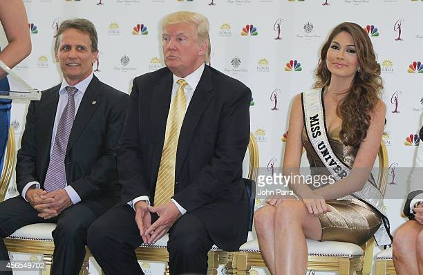 Mayor Of Doral Luigi Borgia,Donald Trump and Miss Universe Gabriela Isler attend Press Conference to announce the 63rd annual Miss Universe Pageant...