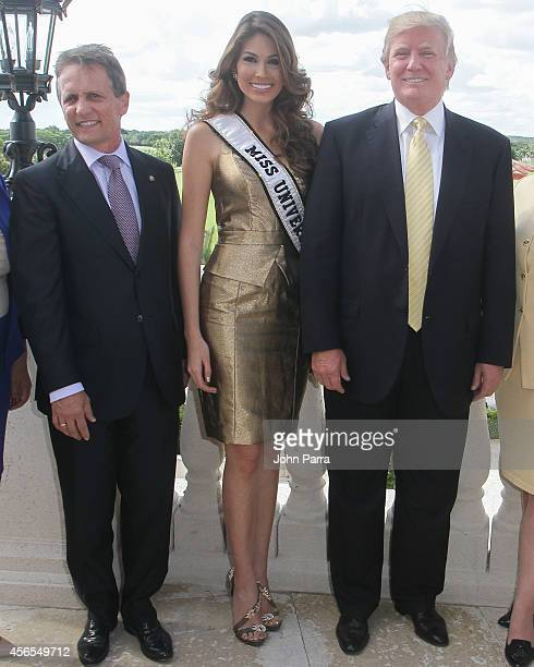 Mayor Of Doral Luigi Borgia,Miss Universe Gabriela Isler and Donald Trump attend Press Conference to announce the 63rd annual Miss Universe Pageant...
