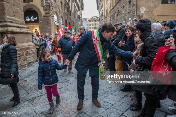 Mayor of Florence Dario Nardella greets visitors and locals during the traditional Three Wise parade which begins at Pittis Square and goes up to...