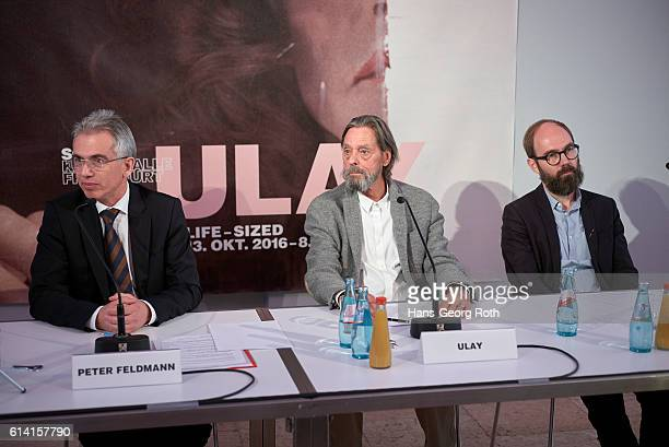 Mayor of Frankfurt am Main Peter Feldmann artist Ulay and curator Matthias Ulrich are seen during a press conference for the 'Ulay LifeSized'...