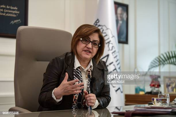Mayor of Gaziantep Fatma Sahin poses during an interview with AFP in Gaziantep in the southwest province of Turkey on May 2 2018 In the Turkish city...