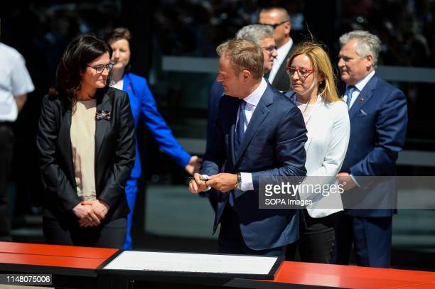 Mayor of Gdansk Aleksandra Dulkiewicz and President of European Council Donald Tusk are seen during Freedom and Solidarity Days in Gdansk. Gdansk, in...