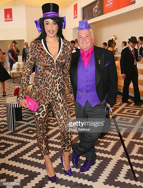 Mayor of Geelong Darryn Lyons and his fiancee Elissa Friday attend the Emirates Marquee on Melbourne Cup Day at Flemington Racecourse on November 4...