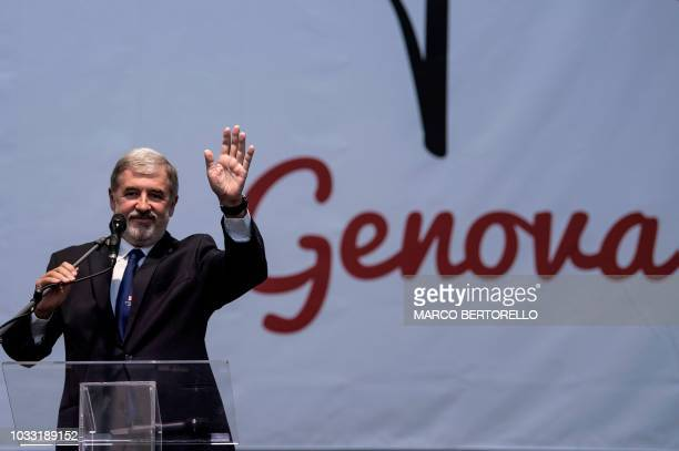 Mayor of Genoa Marco Bucci delivers a speech during a commemoration ceremony one month after the Morandi Bridge collapse that killed 43 people on...