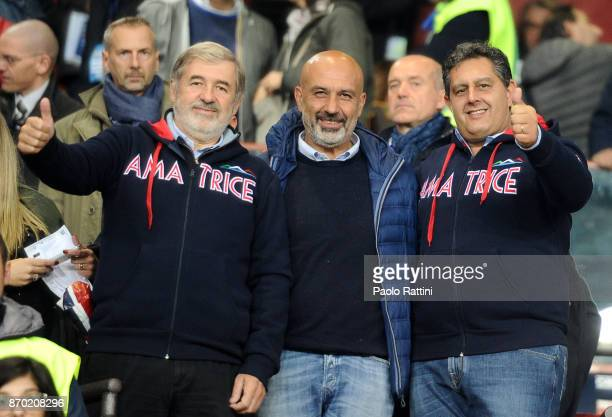 Mayor of Genoa Mayor of Amatrice Sergio Pirozzi and Governor Liguria's Giovanni Toti during the Serie A match between Genoa CFC and UC Sampdoria at...