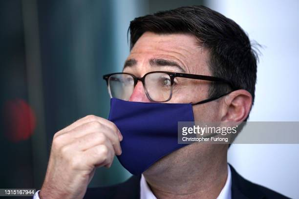 Mayor of Greater Manchester Andy Burnham campaigns in Manchester on April 29, 2021 in Manchester, England.The Labour Leader is in the area to...