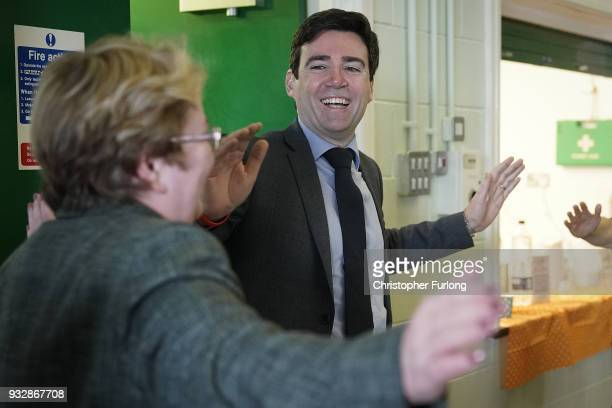 Mayor of Greater Manchester Andy Burnham takes part in a keep fit session with senior citizens at Debdale Outdoor Centre on March 16 2018 in...