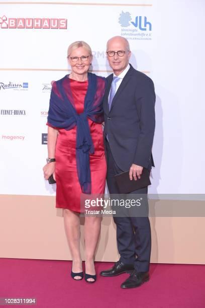 Mayor of Hamburg Peter Tschentscher and his wife Eva Maria Tschentscher attend the Deutscher Radiopreis at Schuppen 52 on September 6, 2018 in...