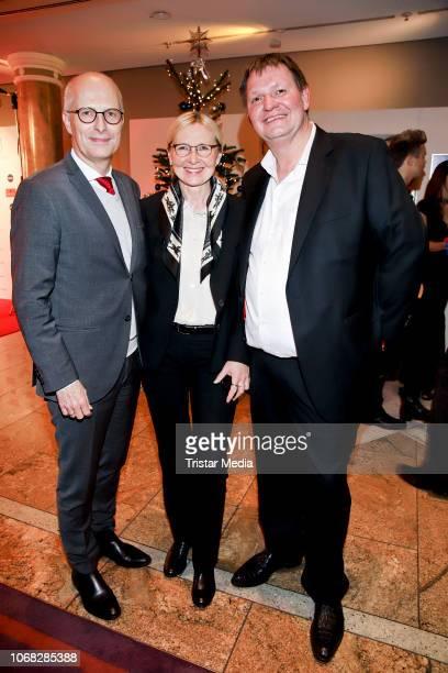 Mayor of Hamburg Peter Tschentscher with his wife EvaMAria Tschentscher and Soeren Bauer attend the Movie Meets Media night at Grand ElysÈe Hamburg...