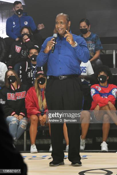 Mayor of Inglewood James T. Butts Jr. Speaks during the LA Clippers ground breaking on Intuit Dome on September 17, 2021 in Inglewood, California....
