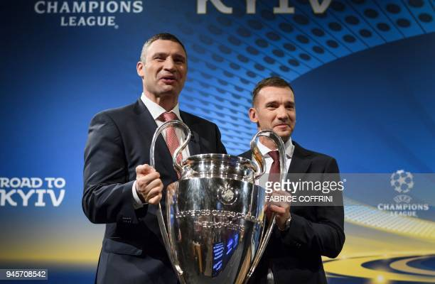 Mayor of Kiev and former boxing champion Vitali Klitschko poses with former Ukrainian soccer player and ambassador for the UEFA Champion League final...